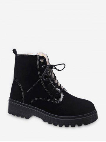 Suede Fleece Lace Up Ankle Boots