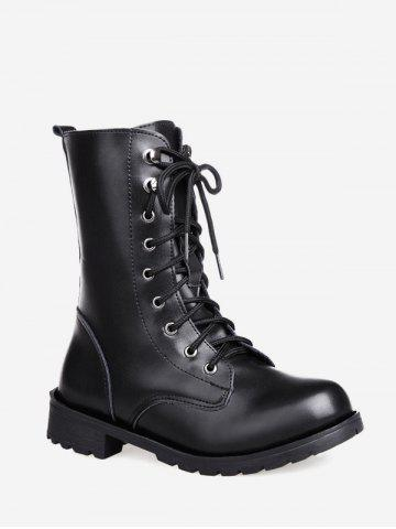 Solid PU Leather Mid Calf Boots