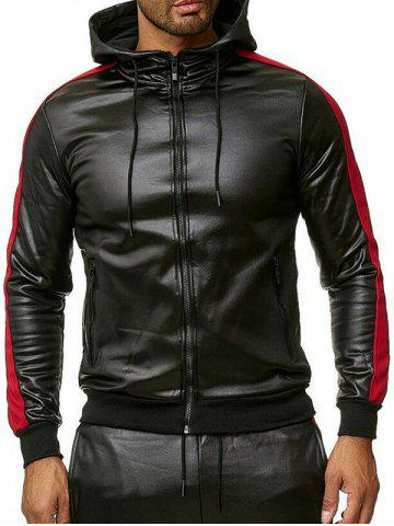 Color Spliced Faux Leather Zipper Jacket