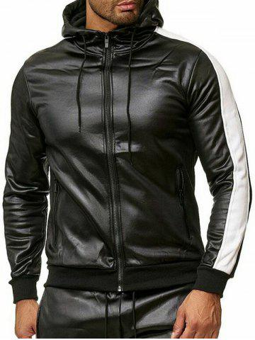 Color Spliced Faux Leather Zipper Jacket - from $25.88