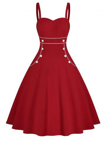 Contrast Piping Button Embellished Sweetheart Dress
