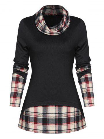Plaid Print Back Slit Faux Twinset Pullover Sweater