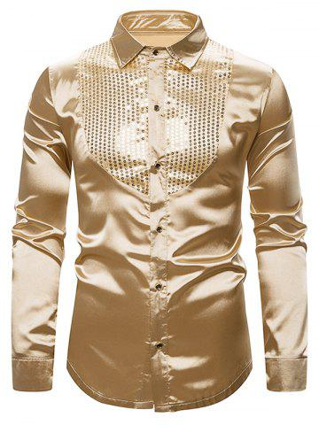 Glitter Sequins Insert Button Up Shirt