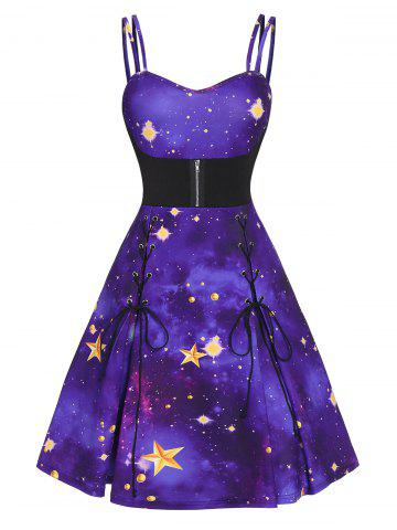 Sweetheart Collar Strap Fit And Flare Dress - PURPLE AMETHYST - XL