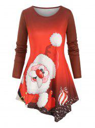 Christmas Santa Claus Printed Asymmetrical Plus Size Top -