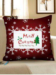 Merry Christmas Tree Snowflake Pattern Pillow Cover -
