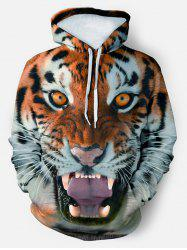 3D Tiger Graphic Front Pocket Drawstring Hoodie -