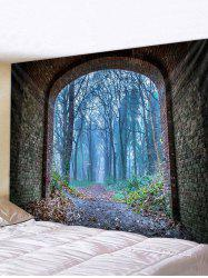 Forest Brick Tunnel Print Tapestry Wall Hanging Art Decoration -