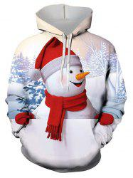 Christmas Snowman Graphic Front Pocket Drawstring Hoodie -