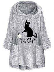 Cat Letter Embroidered Plush Hoodie -