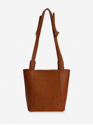 Solid Patch Dual Shoulder Bucket Bag -