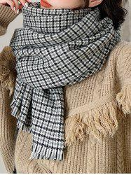 Houndstooth Plaid Winter Fringe Knitted Scarf -