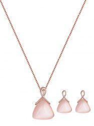 Faux Opal Triangle Pendant Jewelry Set -