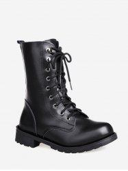 Solid PU Leather Mid Calf Boots -