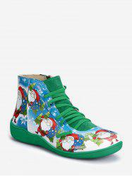 Christmas Santa Print Lace Up Ankle Boots -
