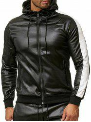Color Spliced Faux Leather Zipper Jacket -