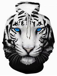3D Tiger Graphic Front Pocket Casual Hoodie -
