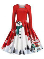 Snowman Snowflake Print Christmas Long Sleeves Dress -