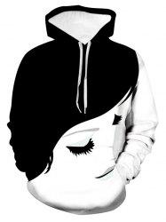 Girl Face Graphic Front Pocket Drawstring Hoodie -