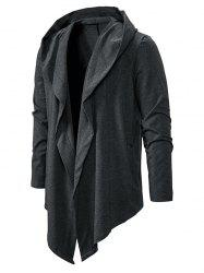Plain Open Front Hooded Asymmetric Jacket -