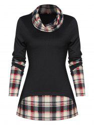 Plaid Print Back Slit Faux Twinset Pullover Sweater -