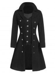 Mock Button Wool Blend Faux Twinset Skirted Coat -