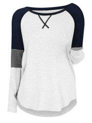 Plus Size Colorblock Raglan Sleeve T Shirt -