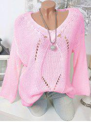 Taille Plus col en V Pull Chunky -