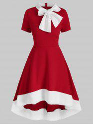 Christmas Bow Tie Collar Faux Fur Panel Dip Hem Dress -
