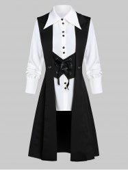 Button Up Shirt and Button Embellished Lace-up Skirted Vest -