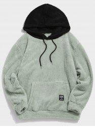 Colorblock Splicing Faux Fur Fluffy Hoodie -
