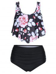 Floral Print Ruched Tankini Swimsuit -