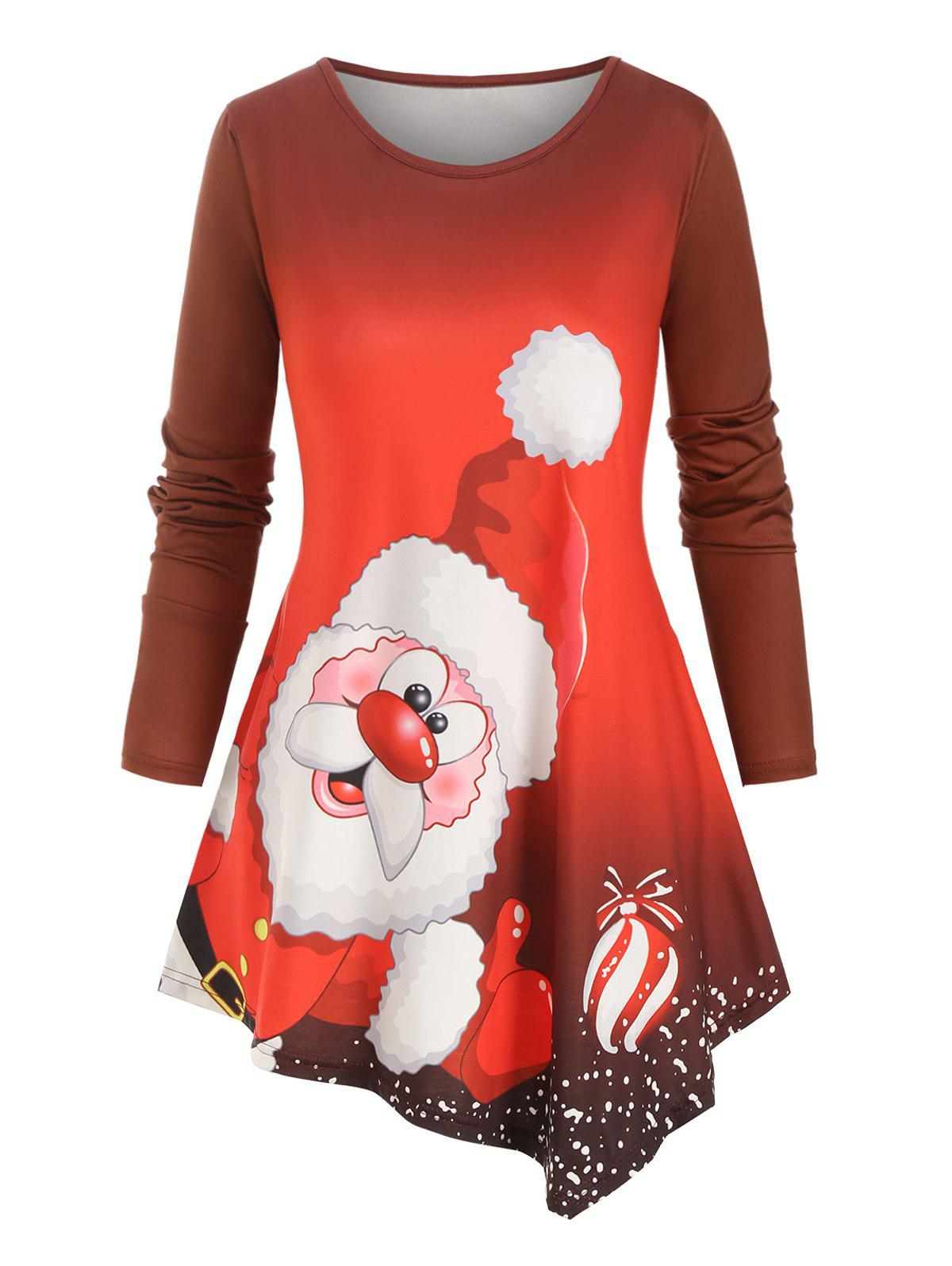 Sale Christmas Santa Claus Printed Asymmetrical Plus Size Top