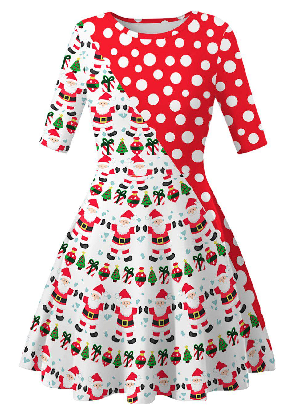 Best Santa Claus Dotted Cats Christmas Mini Dress