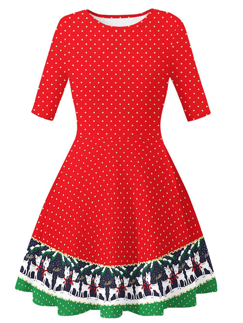 Online Santa Claus Dotted Cats Christmas Mini Dress