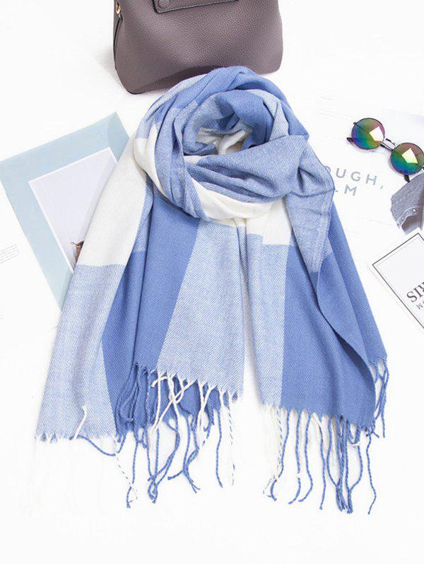Hot Checkered Fringe Faux Cashmere Long Scarf