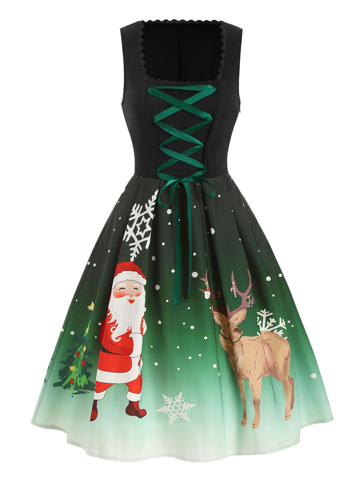 Chic Christmas Santa Claus Elk Lace Up Sleeveless Dress