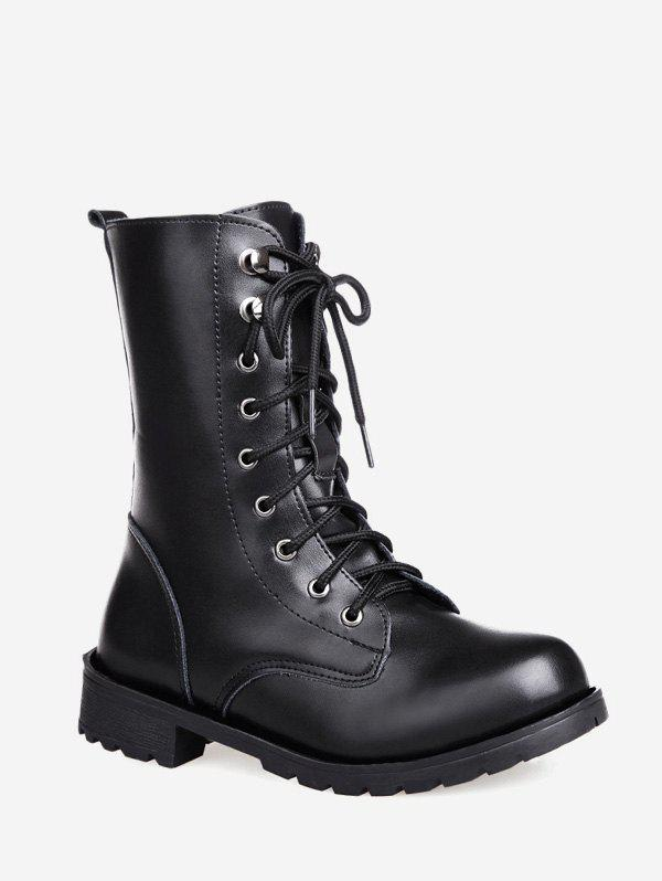 Cheap Solid PU Leather Mid Calf Boots