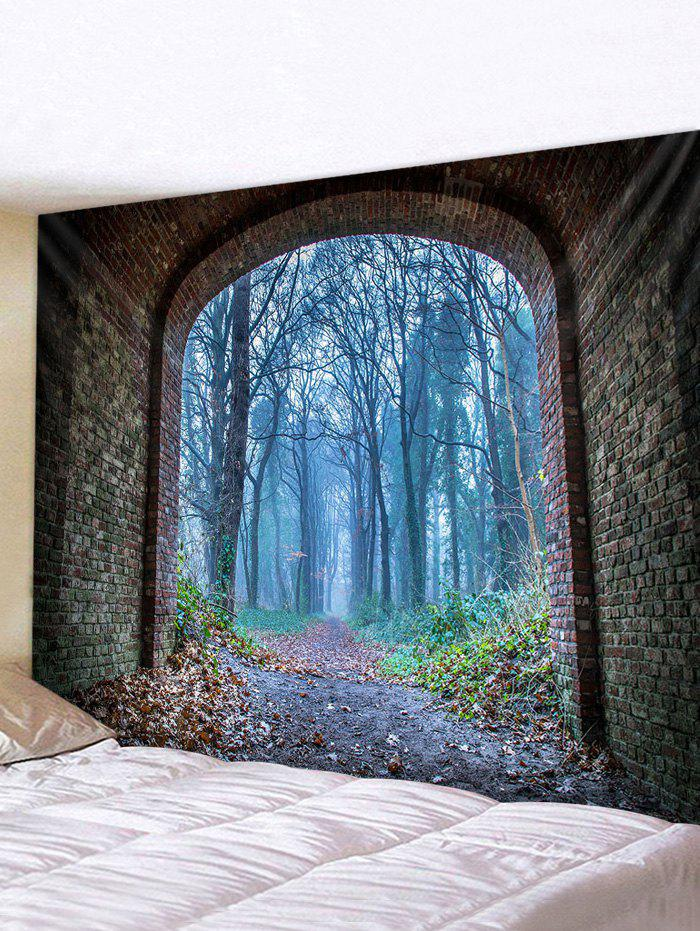 Latest Forest Brick Tunnel Print Tapestry Wall Hanging Art Decoration