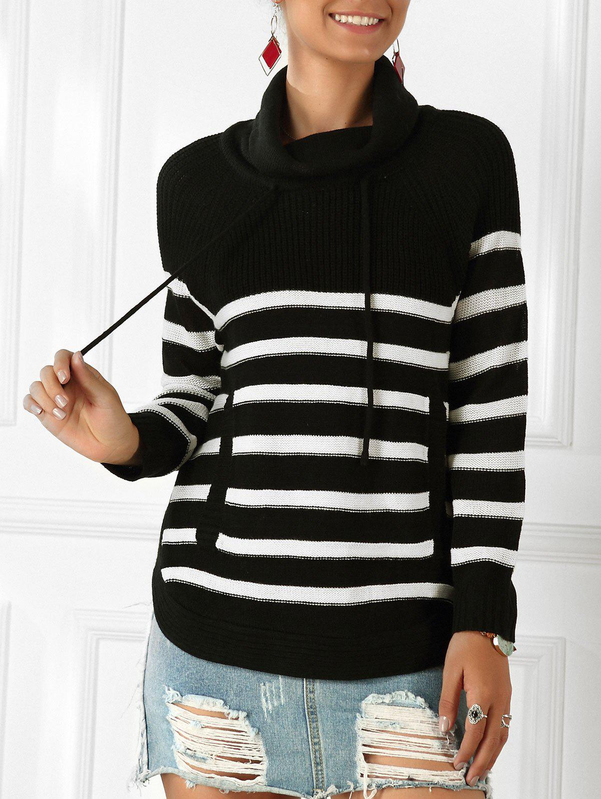 Latest Striped Front Pocket Drawstring Sweater