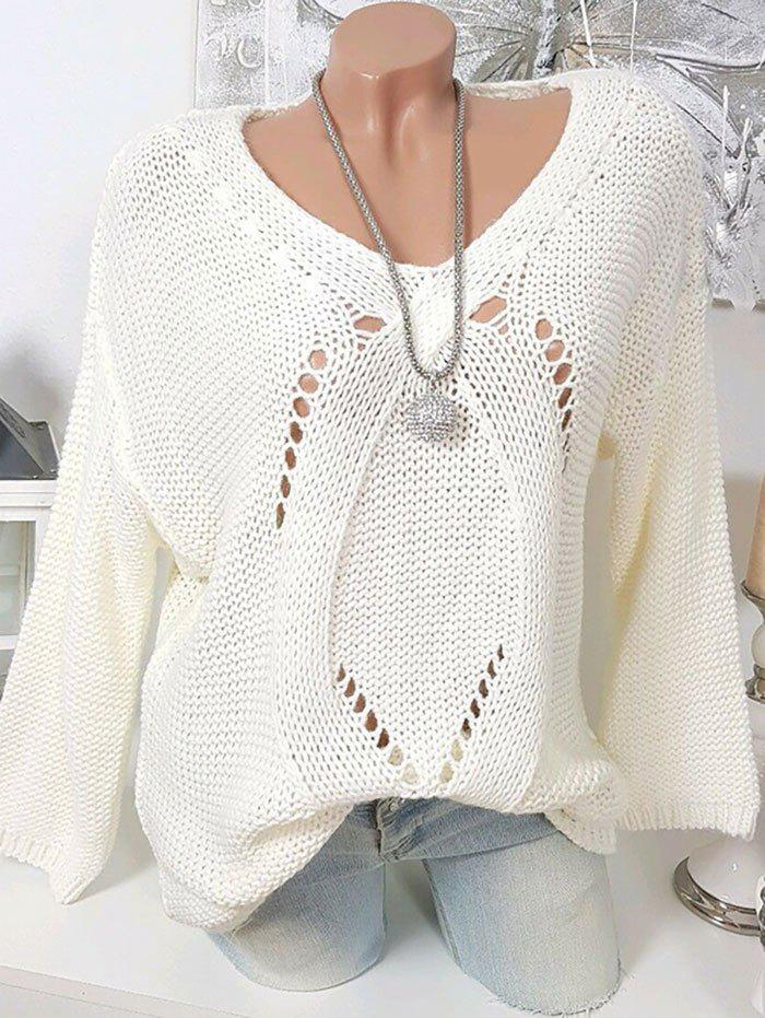 Taille Plus col en V Pull Chunky