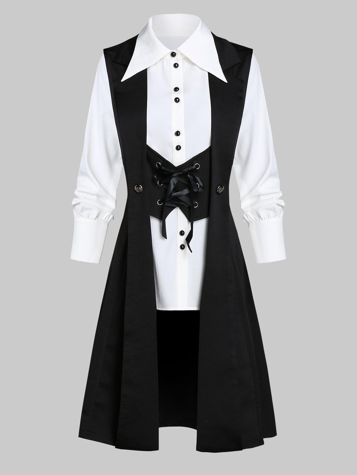 Buy Button Up Shirt and Button Embellished Lace-up Skirted Vest