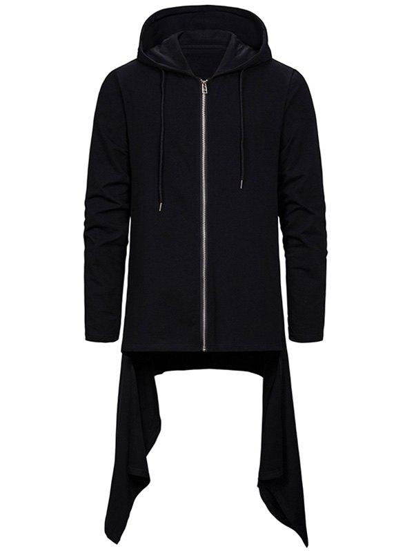 Trendy Asymmetric Hem Zip Up Gothic Hoodie