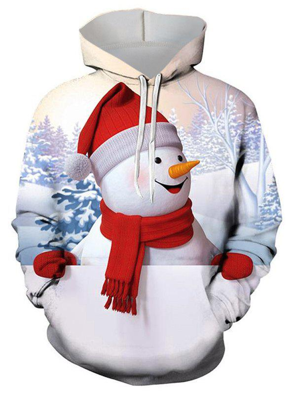 Outfits Christmas Snowman Graphic Front Pocket Drawstring Hoodie