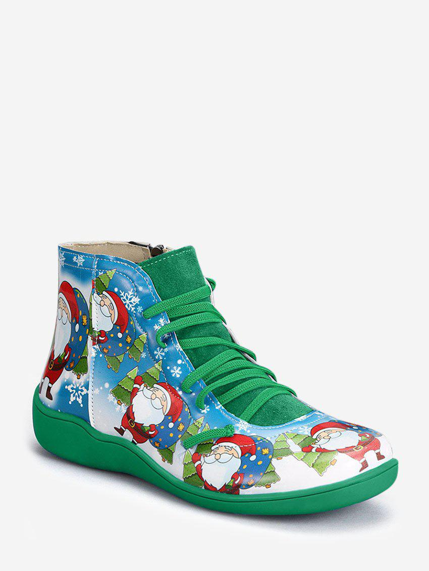 Sale Christmas Santa Print Lace Up Ankle Boots