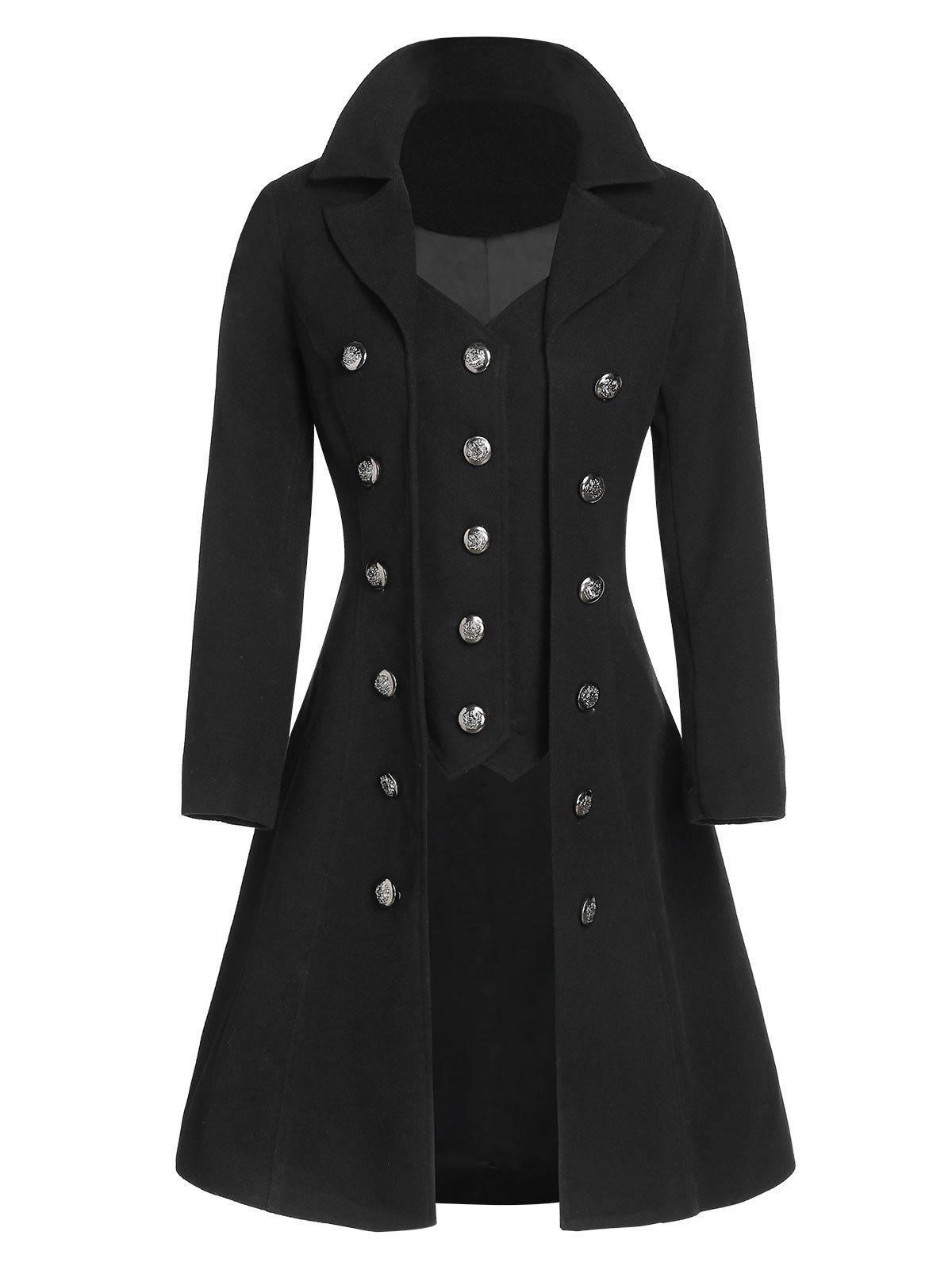 Buy Mock Button Wool Blend Faux Twinset Skirted Coat