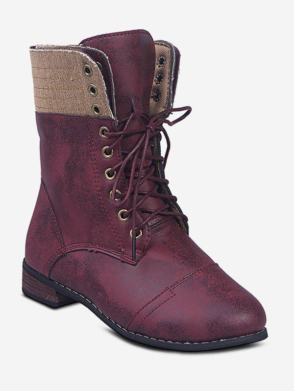 Affordable Lace Up Cargo Mid Calf Boots