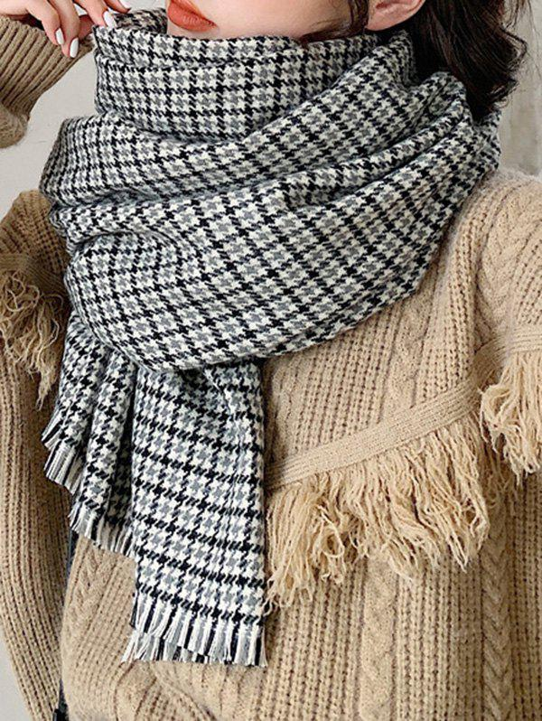 Cheap Houndstooth Plaid Winter Fringe Knitted Scarf