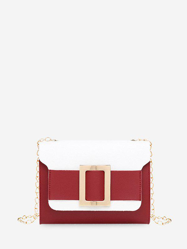 Fancy Square Buckle Two Tone Chain Crossbody Bag