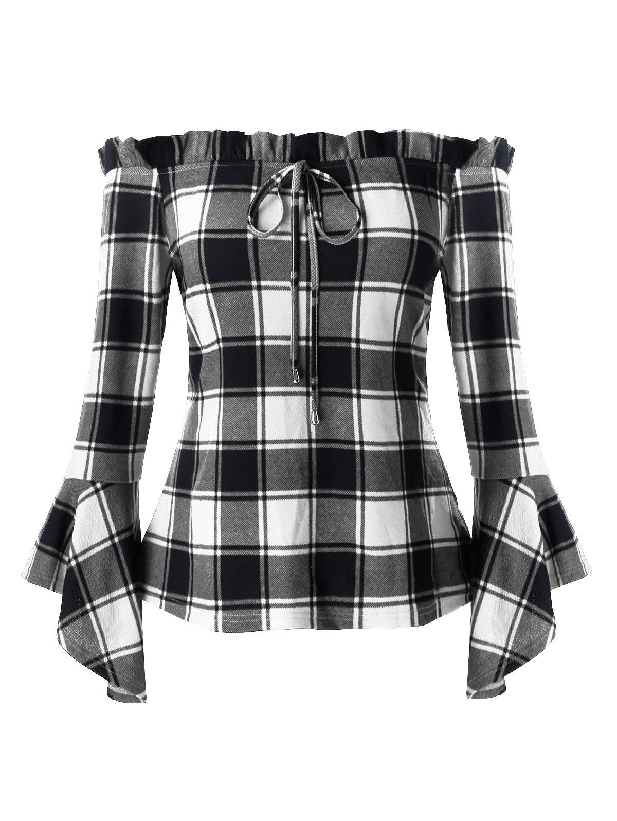 Latest Plus Size Bell Sleeve Plaid Off Shoulder T Shirt